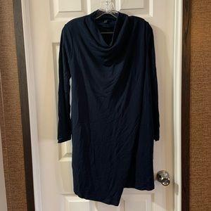 Aritzia COS Navy Cowl Neck Faux Wrap Dress size S